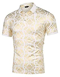Men's Floral Printed Short Sleeve Polo Shirt