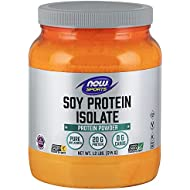 NOW Sports Nutrition, Soy Protein Isolate 20 G, 0 Carbs, Unflavored Powder, 1.2-Pound