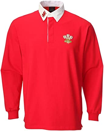Manav de Gales Camiseta de Rugby de Manga Larga, Color Rojo y ...