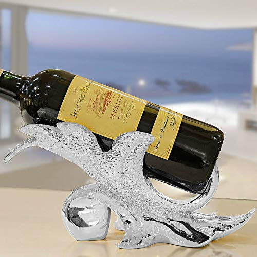 (LBYMYB Maple Leaf Creative Simple Wine Rack Environmental Resin Wine Holder 17 X 11 X 14CM Wine Rack (Color : Silver))