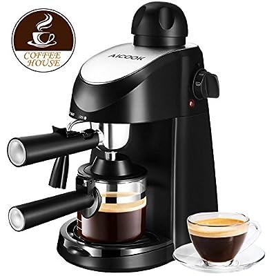 Espresso Machine, Aicook 3.5Bar Espresso Coffee Maker, Espresso and Cappuccino Machine with Milk Frother, Espresso Maker with Steamer, Black from AICOOK