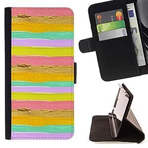 LG Magna / G4C / H525N H522Y H520N H502F H500F (G4 MINI,NOT FOR LG G4)Case , Líneas de rayas horizontales rosado brillante amarillo- la tarjeta de Crédito Slots PU Funda de cuero Monedero caso cubierta de piel