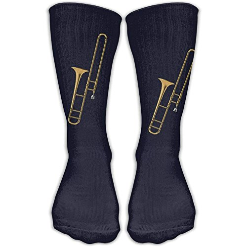 Knee High Socks Trombone Music Instruments Novelty Athletic Crew Funny Tube Work Out Stockings With One Size 30cm