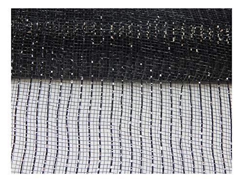 Floral Supply Online - 10 inch x 30 feet Metallic Deco Poly Mesh Ribbon (Black, 10