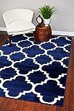 Cheap 4518 Navy Moroccan Trellis 3'9×5'3 Area Rug Carpet Large New