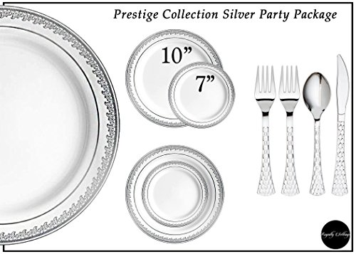 Royalty Settings Prestige Collection Silver Plastic Plates and Cutlery Set Party Package for 120 Persons, Includes 120 Dinner Plates,120 Salad Plates, 240 Forks, 120 Knives and 120 Spoons