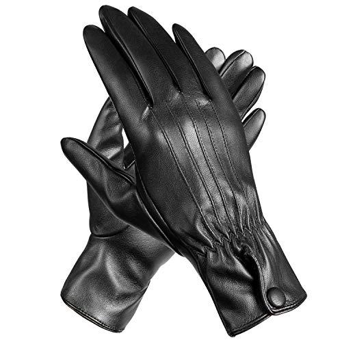 MEVIRA Women Winter Leather Touchscreen Gloves,Warm Wool Fleece Lined Lady Outdoor Gloves(Black,PU,Size-7.5)