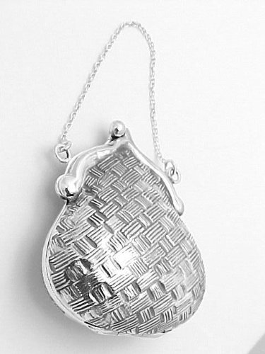 (Silver Mine Gifts Sterling Basketweave Purse Pill Box - Vintage Style )