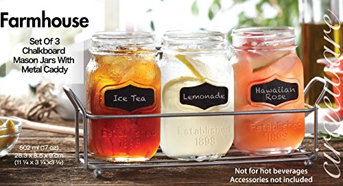 Circleware 69075 Chalkboard Mason Jar Glasses with Metal Holder Stand, Set of 4, Home and Kitchen Farmhouse Décor Drink Tumblers for Water, Beer and Beverages, 17 oz, Clear by Circleware (Image #2)