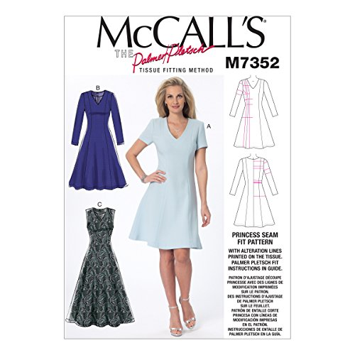 McCall's Patterns M7352 Misses' Jewel or V-Neck Fit and Flare Dresses, Size (Jewels Dress)