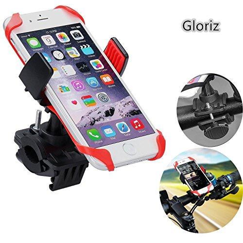 Soporte Móvil Bicicleta, Gluriz Soporte movil Bicicleta, Bike Holder, Bike Mount Smartphone para Moto o Bici Ajustable 360° Negro y Roj
