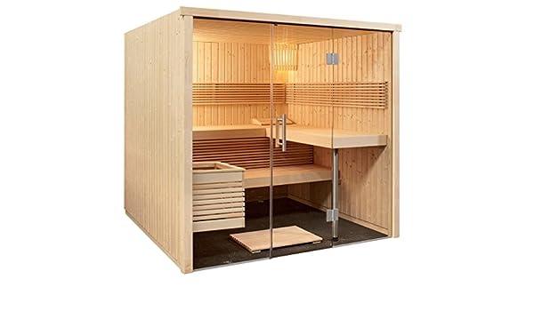 Sauna 214 x 210 x 201 cm panorámico con frontal de cristal Harvia ...