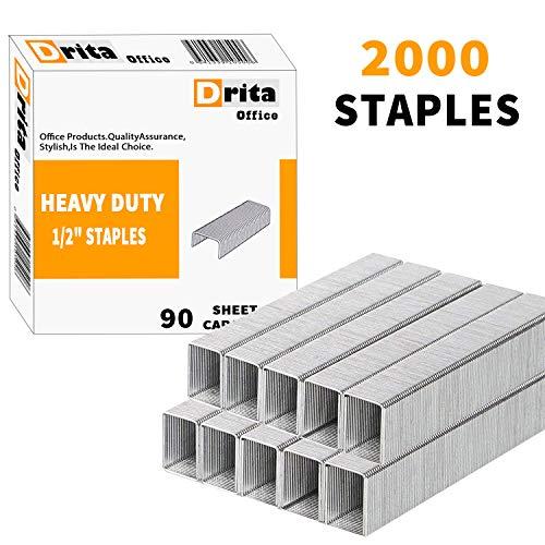 Drita Staples, Heavy Duty, 2000 Staples, 100 Sheet Capacity, 1/2 Length, 23/13, Staples for Heavy Duty Staplers, Office Staples, Desk Staples, Big Staples, Paper Staple, Large Staples