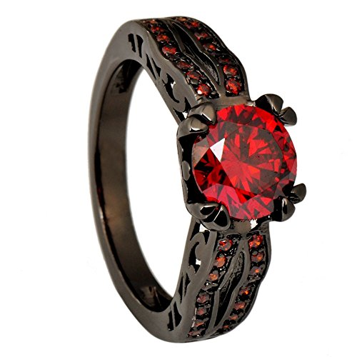 Diamond & Ruby Anniversary Ring - JunXin Black Gold 8MM Round Dark Red Ruby CZ Filled Solitaire Ring Engagement Size5/6/7/8/9/10/11(5)
