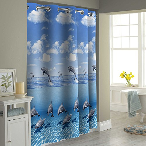 Premium Quality Blue Sea World Beach Dolphin Bathtub Shower Curtain by PeakHut- 100% Polyester Waterproof Fabric Curtain For Bathroom - Includes 12 Curtain Rings, 71 Inch x 79 Inch (Dolphin Family) (Curtains Flowered Red)