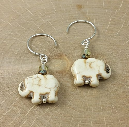 Sterling Silver Jewelry Club (A Pair of Carved Elephant Cream Howlite Gemstone Crystals Earrings with Sterling Silver Safari)