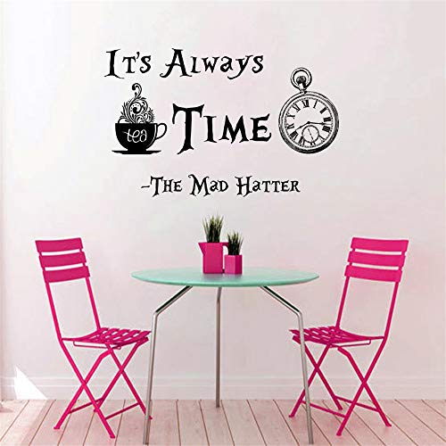 Clock Pattern Quotes Its Always Tea Time Wall