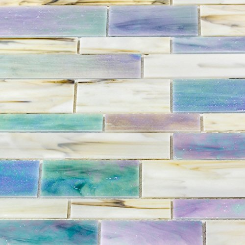 Dazzle Mosaic Matchstix Kismet 12 in. x 12 in. x 3 mm Glass Floor and Wall Tile Stained glass for Kitchen Backsplashes, Bathroom Walls, Spas, Pools by Dazzle Mosaic (10 Pack)