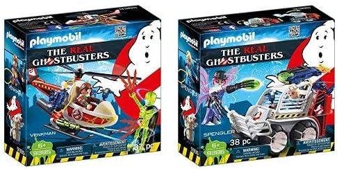 Playmobil 9385 - Venkman mit Helikopter Spiel & 9386 - Spengler mit Käfigfahrzeug Spiel