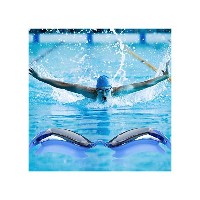 51l0g82WSHL Diseño innovador - El tapón para los oídos está conectado con las gafas de natación. no te preocupes más por perder tapones para los oídos mientras estás nadando. Además, este tapón de silicona suave es cómodo en el oído con alta resistencia al agua. Anti niebla y protección UV - Antiniebla y capa ULTRAVIOLETA de la protección le proporcionan una experiencia excelente de la natación bajo agua. La protección contra la niebla puede ofrecerle una visión distante clara y larga debajo del agua, protección ultravioleta puede ayudar a proteger sus ojos contra ser lastimado por las luces ultravioleta y brillantes. Gran sellado y sin fugas - El material de silicona y el diseño ergonómico aseguran un ajuste perfecto en la mayoría de las formas faciales y nunca permite la filtración de agua.