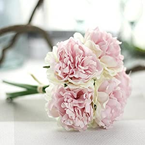 Amiley artificial flowers , 5 heads Artificial Silk Fake Flowers Peony Floral Wedding Bouquet Bridal Hydrangea Decor 33
