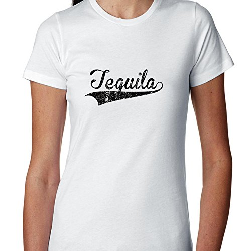 Trendy Simple Tequila Large Font Word Graphic Women's Cotton T-Shirt