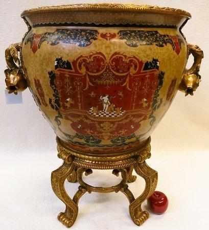 Goddess Porcelain Ormolu Fish Bowl Brass Stand (Goddess Porcelain)
