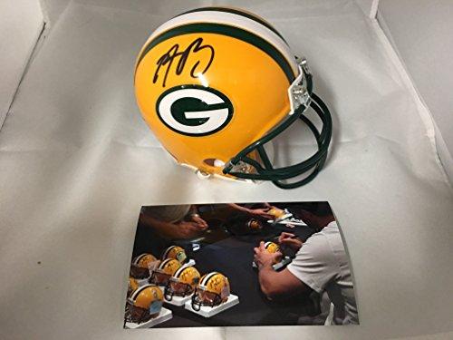 Aaron Rodgers Signed Autographed Green Bay Packers Mini Helmet Witih Game Model Decals On Helmet Certified Hologram & COA W Photo Of - Mini Decals Helmet