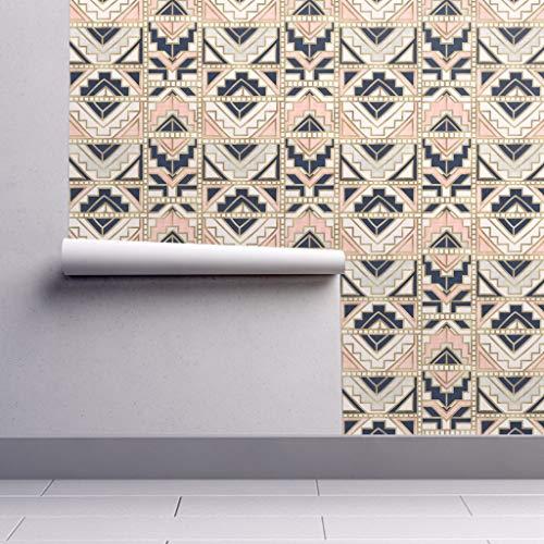 Aztec Wallpaper Roll - Aztec Blush Navy Gold Cream Modern Home Decor Aztec Geo Geometric Navy Kilim Tapestry Tribal by Crystal Walen - 1 Roll 24in x 27ft