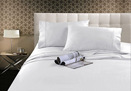 ts- Viscose from Bamboo, 1500 Series Microfiber Sheet Set,Wrinkle Free & Pilling Resistant, Hypoallergenic, Ultra Soft &Comfortable, 4-Piece Bedding (Queen, White) ()