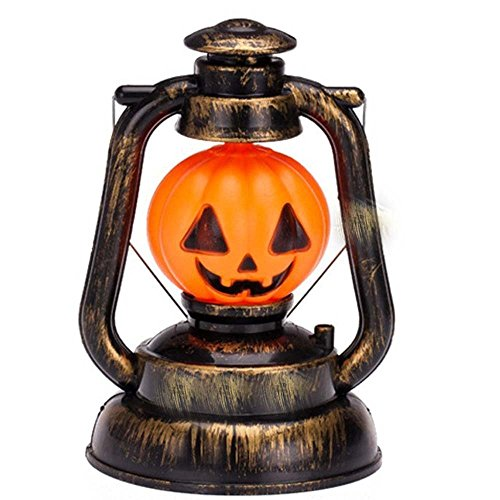 AlleTechPlus Rustic Old Fashioned Vintage Halloween LED Pumpkin Lantern with Horror Sound & Light Lamp Prop Carnival Party Night Decoration for Indoor, Outdoor, Home, (Vintage Halloween Lantern)