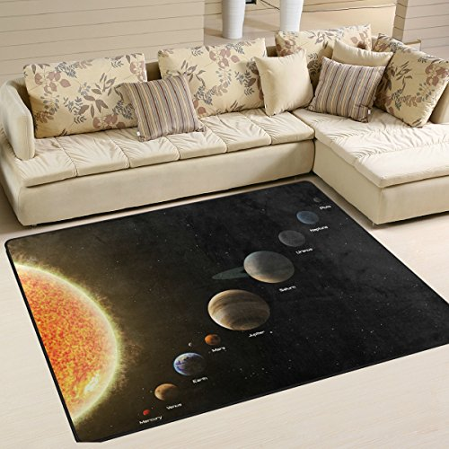 Solar System Playmat Floor Mat For Dining Room Living Room Bedroom, 7'x5' and 5'3''x4' by CoolPrintAll