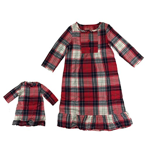 Toddler Girls Red Plaid Christmas Holiday Nightgown