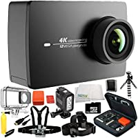 YI 4K+/60fps Action Camera with Waterproof Case 14PC Accessory Bundle – Includes Waterproof Housing + Head & Chest Strap + 32GB MicroSD Memory Card + MORE