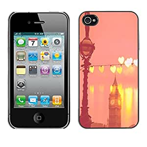 [Neutron-Star] Snap-on Series Teléfono Carcasa Funda Case Caso para iPhone 4 / 4S [Big Ben corazones de melocotón rosado de Londres Inglaterra]