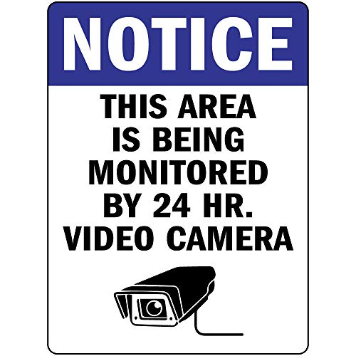 Computer Vinyl Hr 24 - Notice This Area is Being Monitored by 24 Hr Video Camera Vinyl Sticker Decal 8