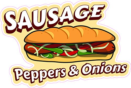 "Sausage Peppers & Onions 16"" Concession Decal Sign cart Trailer Stand Sticker Equipment"