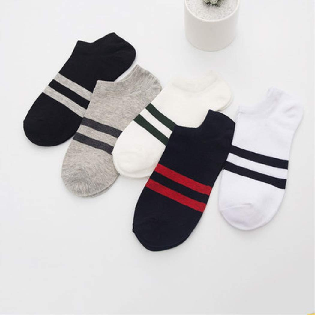 IEnkidu Men Boys Casual Non Slip Breathable Comfortable Invisible Boat Socks (Two striped)