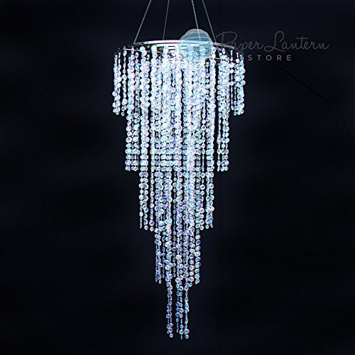 Quasimoon PaperLanternStore.com Designer Crystal Stainless Steel Chandelier - 2 x 4 FT Long Round Single-Tier, (Tiers Round Chandelier)