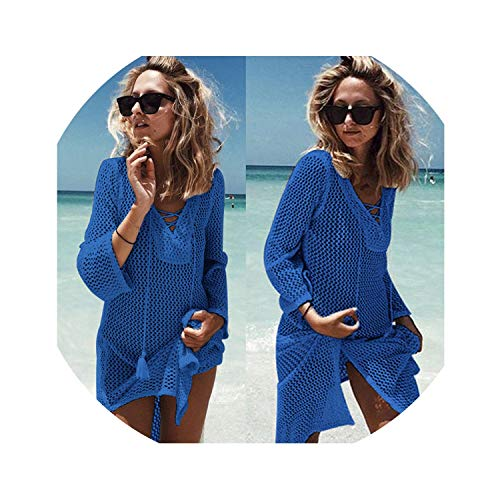 (two- Women Crochet Hollow Out Cover-up Sexy V Neck Beach Bikini Cover Up Swimsuit Bathing Swimwear Dress,As Photo shows1,One Size)