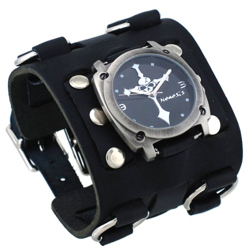 Nemesis #WBK927K Men's Skull Crucifixion Black Super Wide Tri Clasp Leather Cuff ()