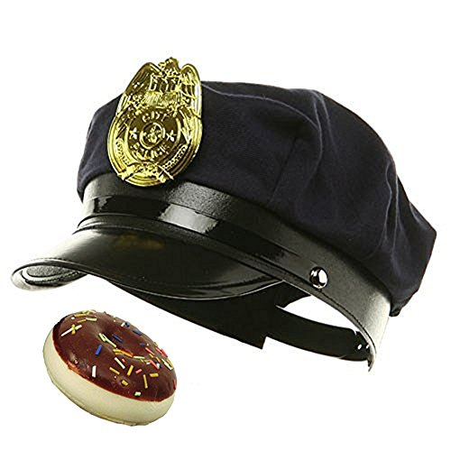 Costume Prank On Cops (Novelty Police Cop Navy Blue Hat w/ Fake Chocolate Donut Halloween Costume Set)