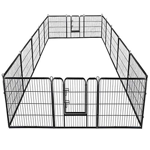 16 Panels Dog Puppy Cat Pet Playpen Metal Fence Heavy Duty Pet Pen Exercise Outdoor Indoor Kennel Crate (40''Height)