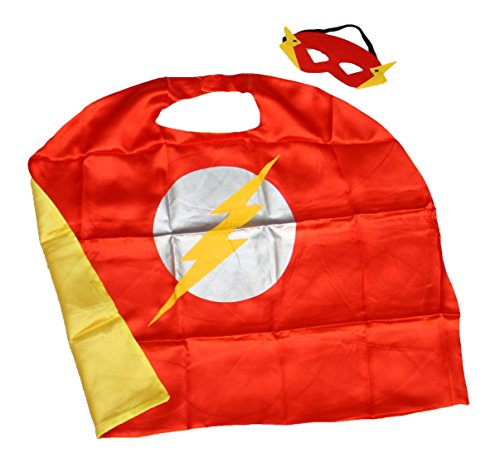(Flash) ROXX Superhero Superman Kids Girl And Boy Cape and Mask Costume for Child (Flash Costume Child)