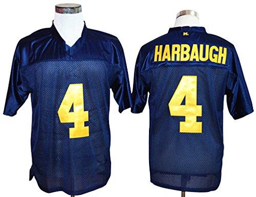 CRISGIORD Men's Michigan Wolverines College Football NO.4 Jim Harbaugh Jersey L Navy Blue (Wolverine Mascot)