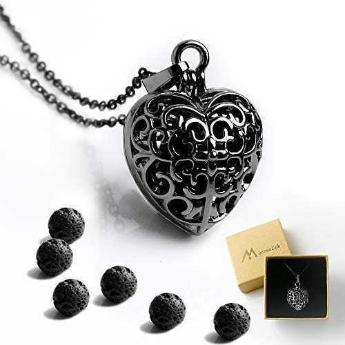 Maromalife Heart Aromatherapy Essential Oil Diffuser Necklace Locket Pendant Magnetic Closure, 6 Black True Lava Stone with 25.5 Adjustable Chain Perfect Gift Set-Black
