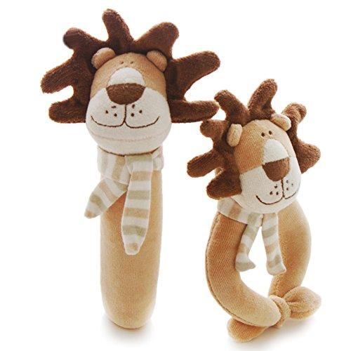 Lion Soft Doll - SHILOH Rattle Plush Toy Kid Children Infant Doll Gift Animals, Brown Lion