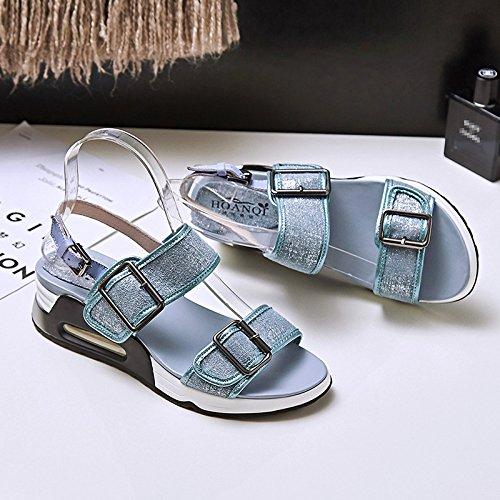 La Nuova Estate Spesso I Sandali Con Metallo Base.,Blue,Eu34Cn35,