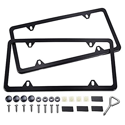 Ohuhu Black License Plate Frames, 4 Hole Matte Aluminum 2 PCS Slim License Plate Frame with Screws Caps: Automotive