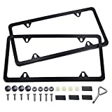 Ohuhu Black License Plate Frames, 4 Hole Matte Aluminum 2 PCS Slim License Plate Frame with Screws Caps